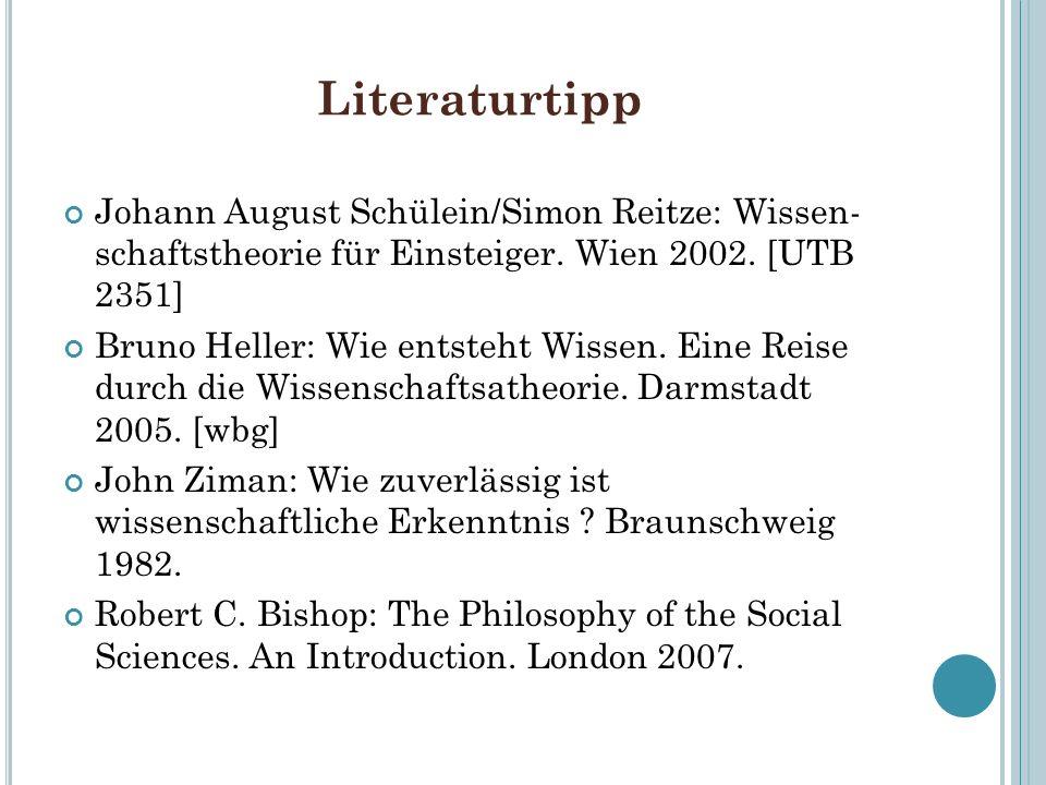 Literaturtipp Johann August Schülein/Simon Reitze: Wissen- schaftstheorie für Einsteiger. Wien 2002. [UTB 2351] Bruno Heller: Wie entsteht Wissen. Ein