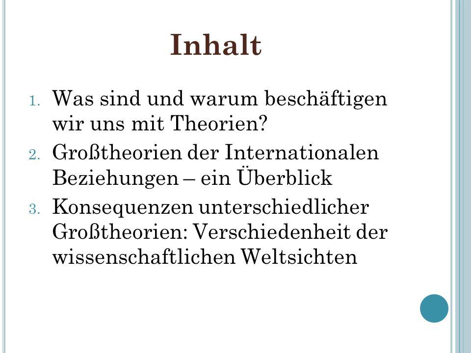 Inhalt 1. Was sind und warum beschäftigen wir uns mit Theorien? 2. Großtheorien der Internationalen Beziehungen – ein Überblick 3. Konsequenzen unters