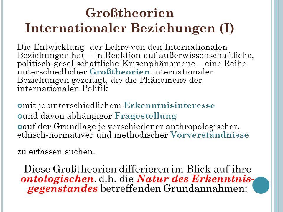 Großtheorien Internationaler Beziehungen (I) Die Entwicklung der Lehre von den Internationalen Beziehungen hat – in Reaktion auf außerwissenschaftlich