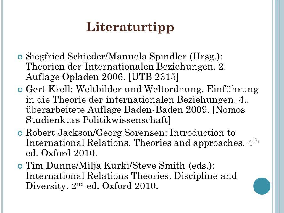 Literaturtipp Siegfried Schieder/Manuela Spindler (Hrsg.): Theorien der Internationalen Beziehungen. 2. Auflage Opladen 2006. [UTB 2315] Gert Krell: W