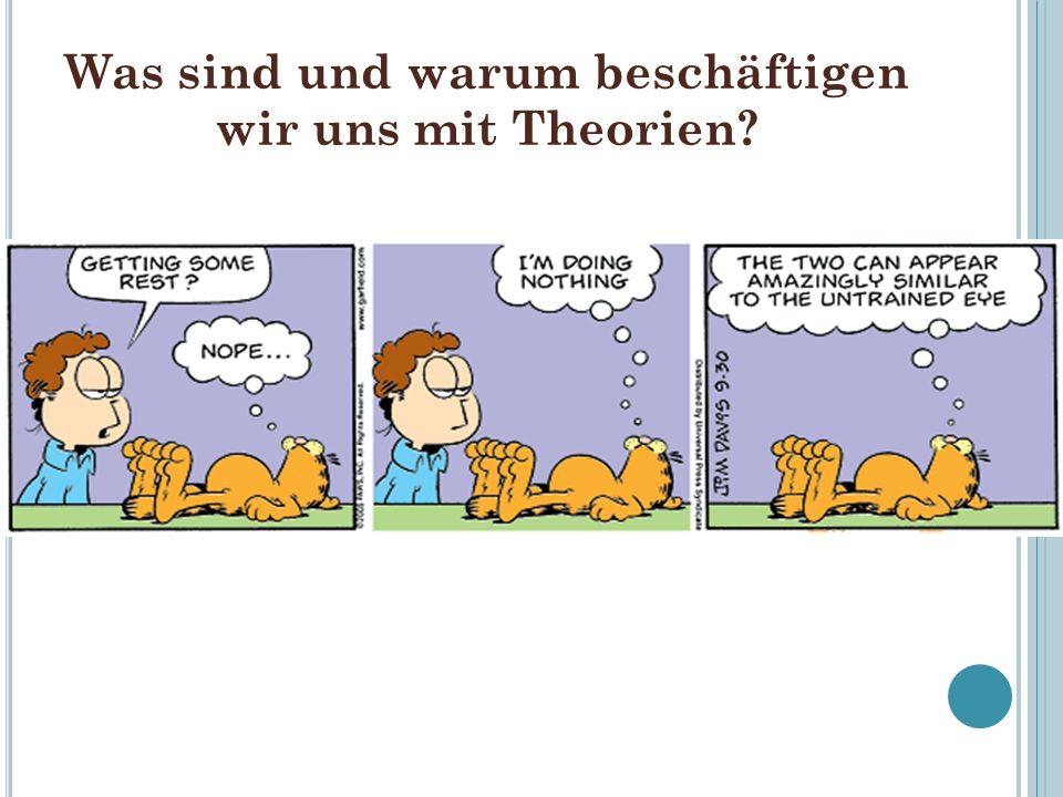 Theorien – Definitionsversuch Theorien sind ganze Systeme von relativ allgemeinen wissenschaftlichen Sätzen (miteinander verbundene Wenn-Dann-Aussagen ), die einen bestimmten Ausschnitt der Realität widerspruchsfrei erklären sollen.