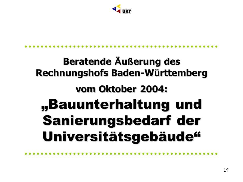 14 Geschäftsbereich C Bau + Technik Abteilung C1 Bauwesen, Dr. Markus Till Beratende Ä u ß erung des Rechnungshofs Baden-W ü rttemberg vom Oktober 200