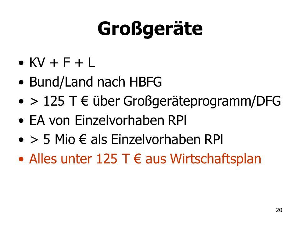 20 Großgeräte KV + F + L Bund/Land nach HBFG > 125 T über Großgeräteprogramm/DFG EA von Einzelvorhaben RPl > 5 Mio als Einzelvorhaben RPl Alles unter