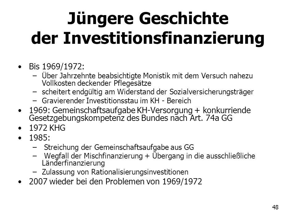 48 Jüngere Geschichte der Investitionsfinanzierung Bis 1969/1972: –Über Jahrzehnte beabsichtigte Monistik mit dem Versuch nahezu Vollkosten deckender