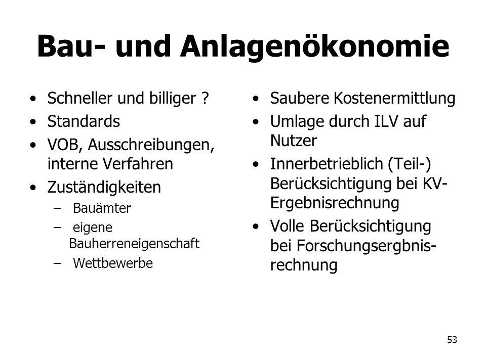 53 Bau- und Anlagenökonomie Schneller und billiger ? Standards VOB, Ausschreibungen, interne Verfahren Zuständigkeiten – Bauämter – eigene Bauherrenei