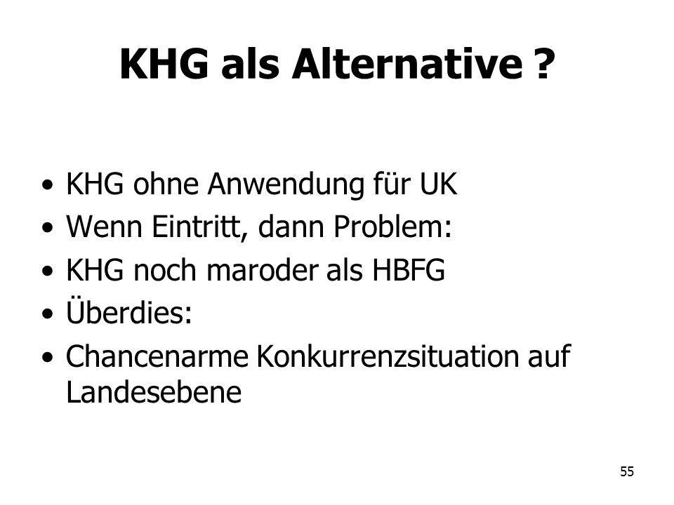 55 KHG als Alternative ? KHG ohne Anwendung für UK Wenn Eintritt, dann Problem: KHG noch maroder als HBFG Überdies: Chancenarme Konkurrenzsituation au