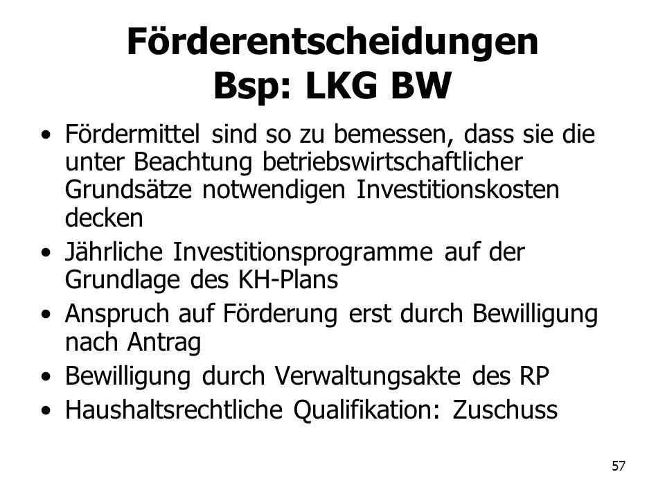57 Förderentscheidungen Bsp: LKG BW Fördermittel sind so zu bemessen, dass sie die unter Beachtung betriebswirtschaftlicher Grundsätze notwendigen Inv