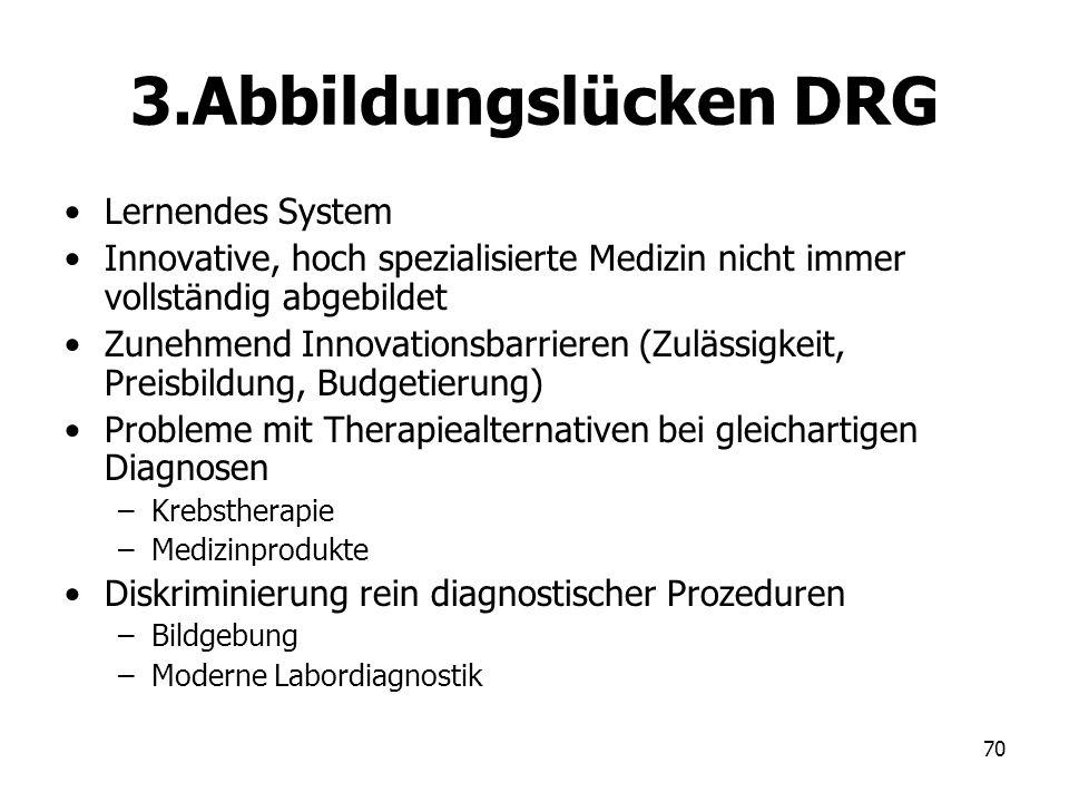 70 3.Abbildungslücken DRG Lernendes System Innovative, hoch spezialisierte Medizin nicht immer vollständig abgebildet Zunehmend Innovationsbarrieren (