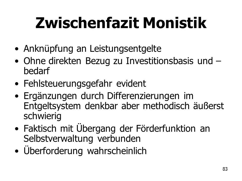 83 Zwischenfazit Monistik Anknüpfung an Leistungsentgelte Ohne direkten Bezug zu Investitionsbasis und – bedarf Fehlsteuerungsgefahr evident Ergänzung