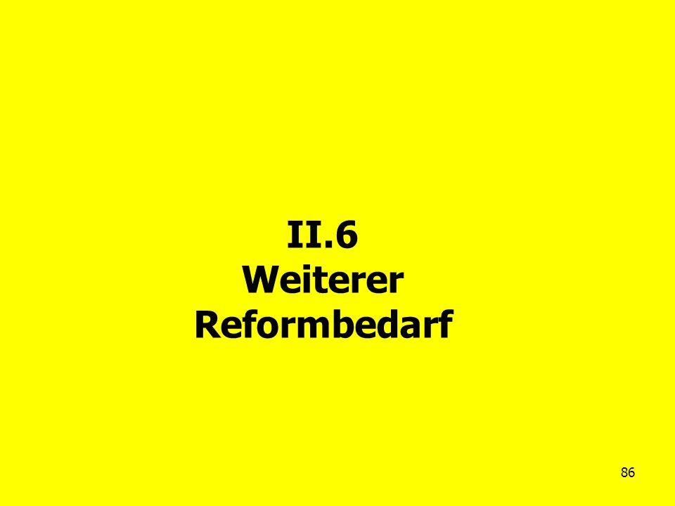 86 II.6 Weiterer Reformbedarf