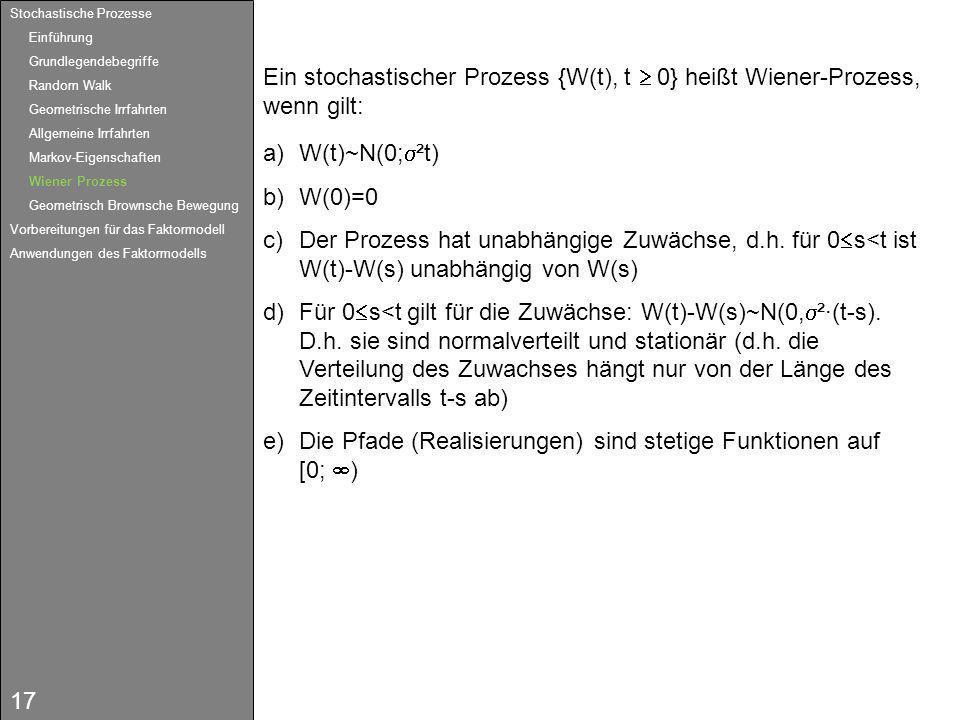 17 Ein stochastischer Prozess {W(t), t 0} heißt Wiener-Prozess, wenn gilt: a)W(t)~N(0; ²t) b)W(0)=0 c)Der Prozess hat unabhängige Zuwächse, d.h. für 0