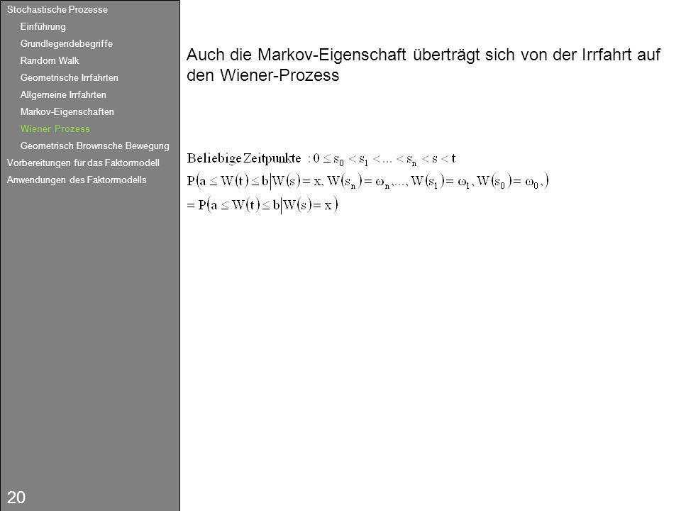 20 Auch die Markov-Eigenschaft überträgt sich von der Irrfahrt auf den Wiener-Prozess Stochastische Prozesse Einführung Grundlegendebegriffe Random Wa