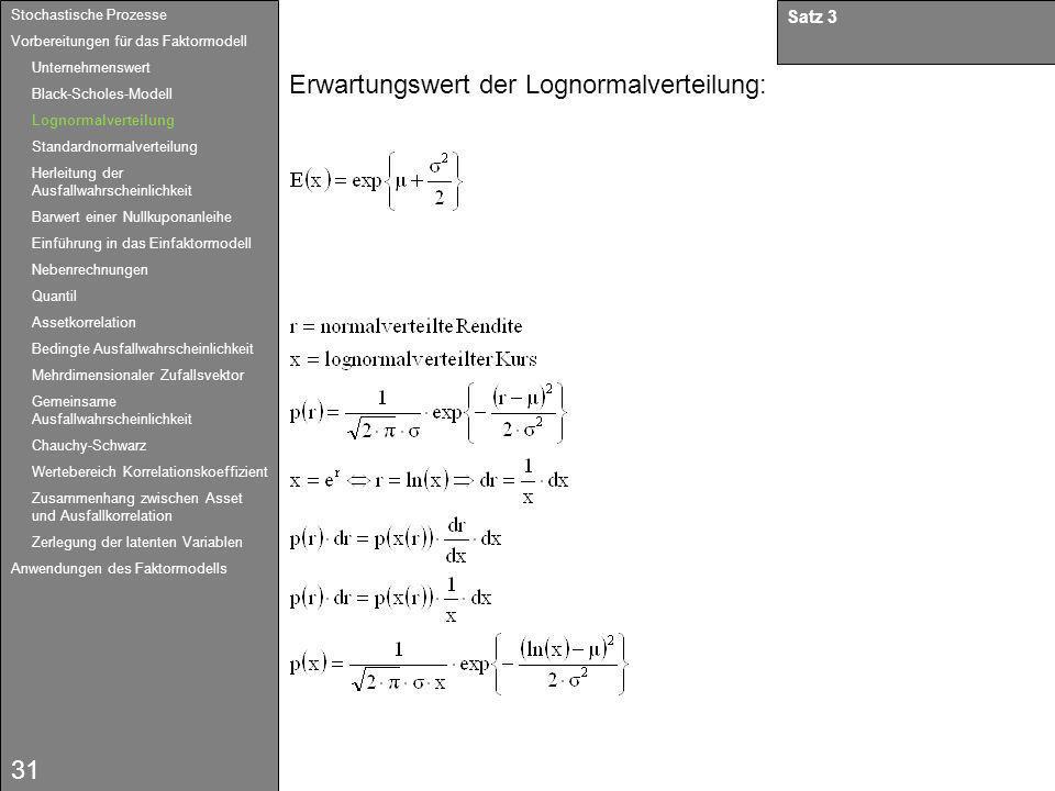 31 Satz 3 Erwartungswert der Lognormalverteilung: Stochastische Prozesse Vorbereitungen für das Faktormodell Unternehmenswert Black-Scholes-Modell Log