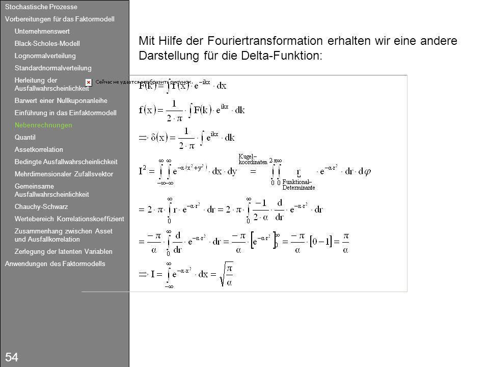 54 Mit Hilfe der Fouriertransformation erhalten wir eine andere Darstellung für die Delta-Funktion: Stochastische Prozesse Vorbereitungen für das Fakt