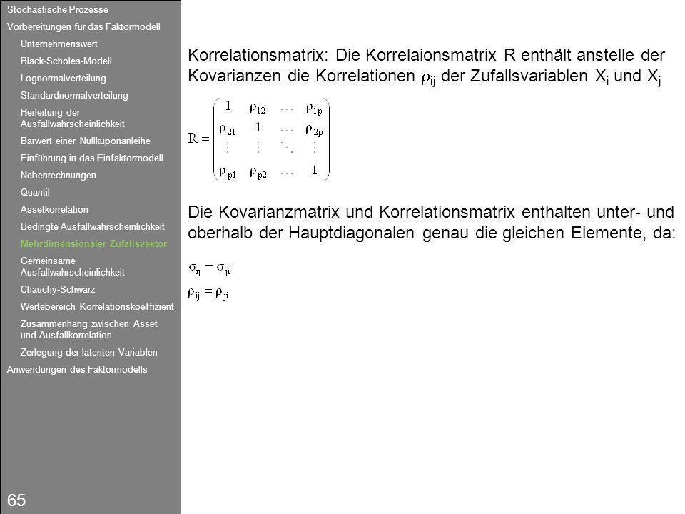 65 Korrelationsmatrix: Die Korrelaionsmatrix R enthält anstelle der Kovarianzen die Korrelationen ij der Zufallsvariablen X i und X j Die Kovarianzmat
