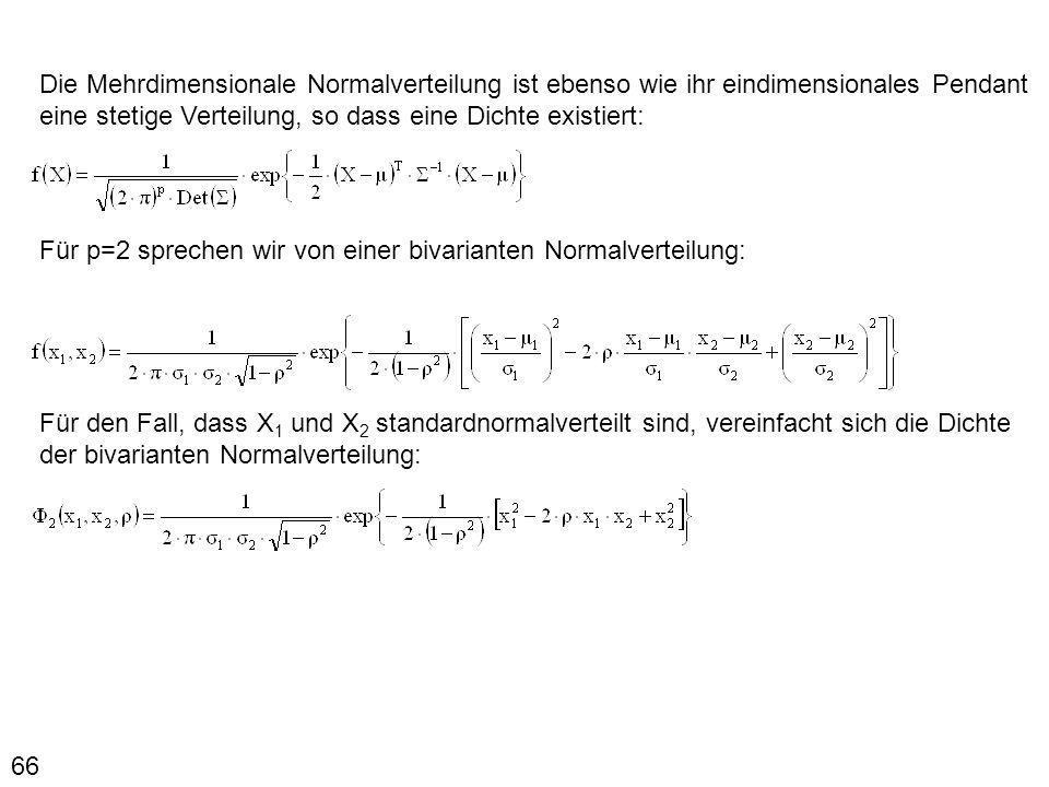 66 Die Mehrdimensionale Normalverteilung ist ebenso wie ihr eindimensionales Pendant eine stetige Verteilung, so dass eine Dichte existiert: Für p=2 s