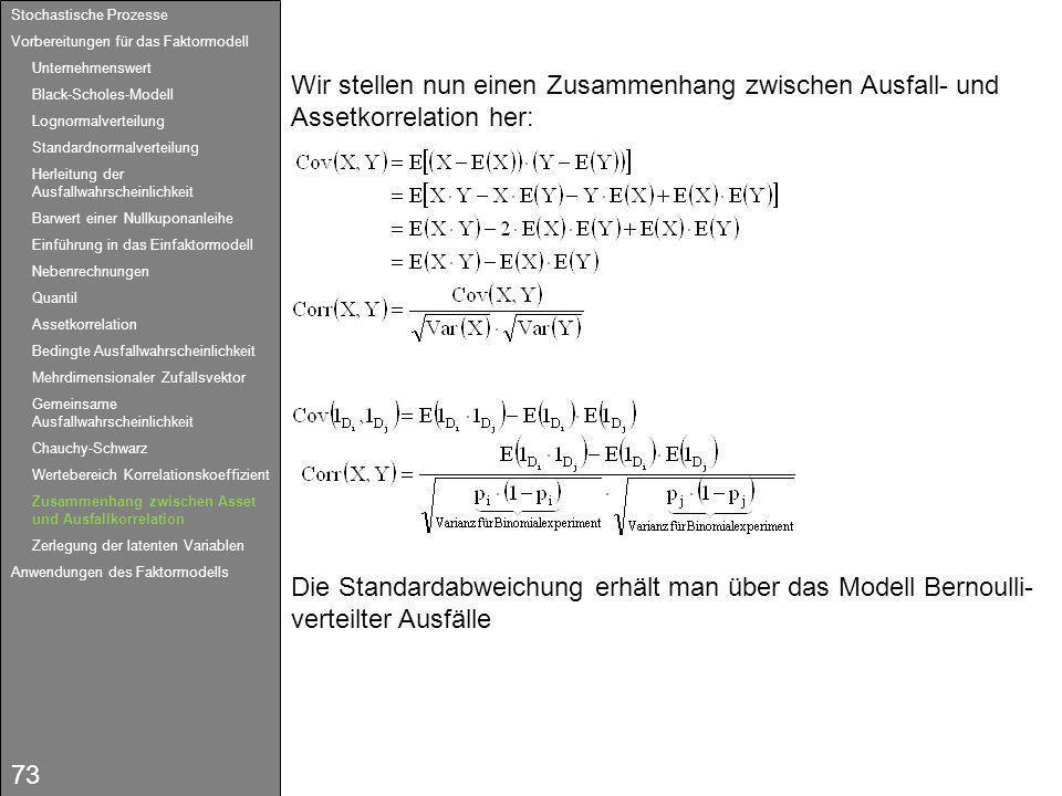 73 Wir stellen nun einen Zusammenhang zwischen Ausfall- und Assetkorrelation her: Die Standardabweichung erhält man über das Modell Bernoulli- verteil
