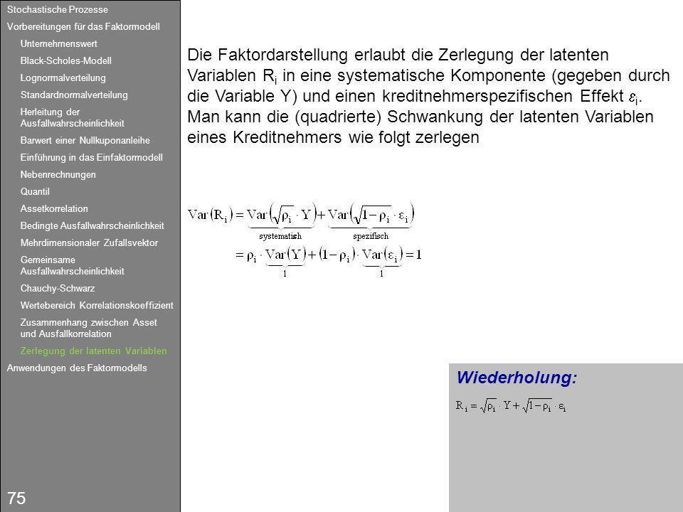75 Wiederholung: Die Faktordarstellung erlaubt die Zerlegung der latenten Variablen R i in eine systematische Komponente (gegeben durch die Variable Y