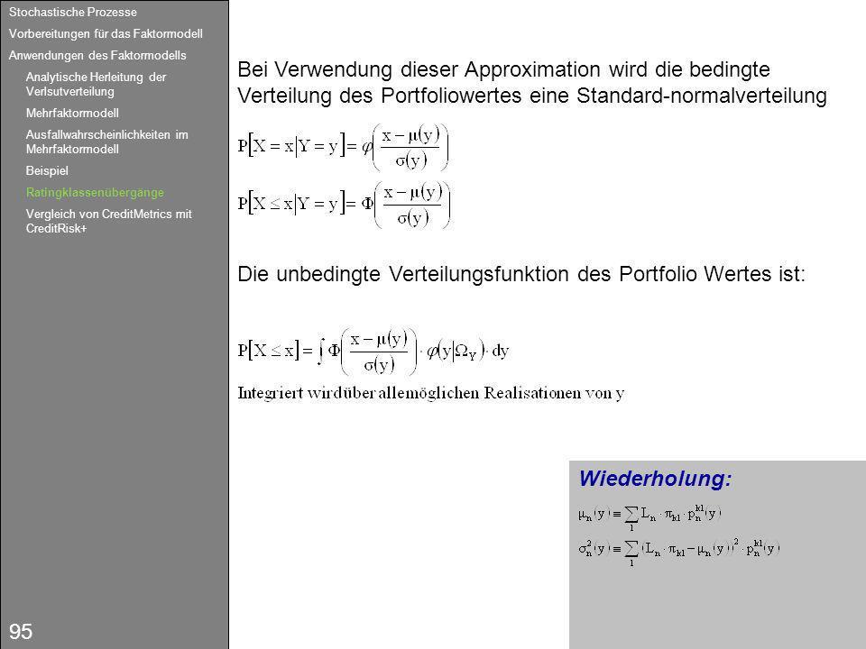 95 Wiederholung: Bei Verwendung dieser Approximation wird die bedingte Verteilung des Portfoliowertes eine Standard-normalverteilung Die unbedingte Ve