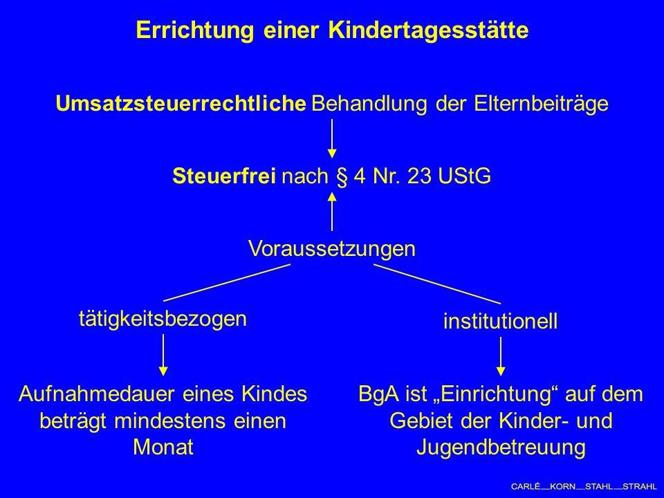 Errichtung einer Kindertagesstätte Umsatzsteuerrechtliche Behandlung der Elternbeiträge Steuerfrei nach § 4 Nr.