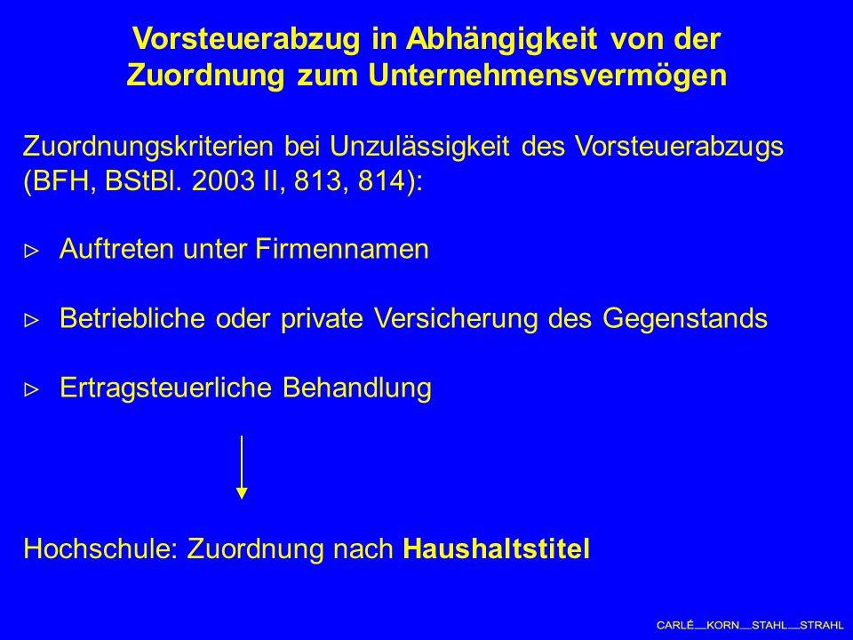 Zuordnungskriterien bei Unzulässigkeit des Vorsteuerabzugs (BFH, BStBl.