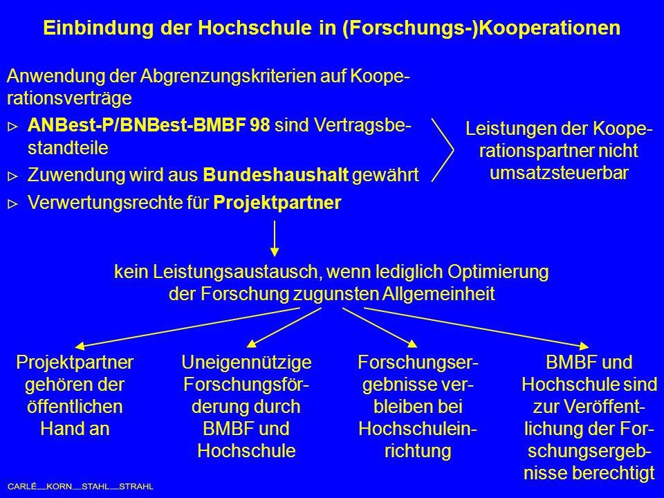 Einbindung der Hochschule in (Forschungs-)Kooperationen Projektpartner gehören der öffentlichen Hand an Uneigennützige Forschungsför- derung durch BMBF und Hochschule Forschungser- gebnisse ver- bleiben bei Hochschulein- richtung BMBF und Hochschule sind zur Veröffent- lichung der For- schungsergeb- nisse berechtigt Anwendung der Abgrenzungskriterien auf Koope- rationsverträge ANBest-P/BNBest-BMBF 98 sind Vertragsbe- standteile Zuwendung wird aus Bundeshaushalt gewährt Verwertungsrechte für Projektpartner Leistungen der Koope- rationspartner nicht umsatzsteuerbar kein Leistungsaustausch, wenn lediglich Optimierung der Forschung zugunsten Allgemeinheit