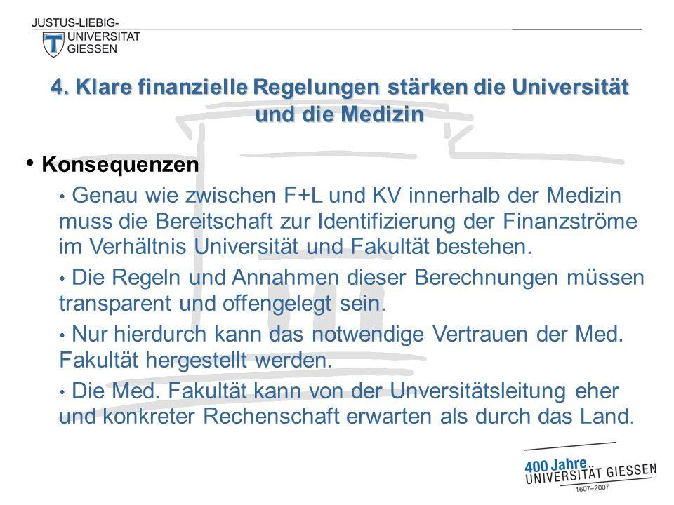 Konsequenzen Genau wie zwischen F+L und KV innerhalb der Medizin muss die Bereitschaft zur Identifizierung der Finanzströme im Verhältnis Universität und Fakultät bestehen.