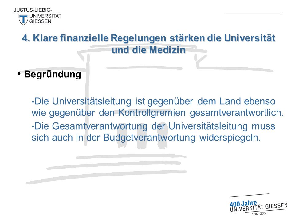 Begründung Die Universitätsleitung ist gegenüber dem Land ebenso wie gegenüber den Kontrollgremien gesamtverantwortlich. Die Gesamtverantwortung der U