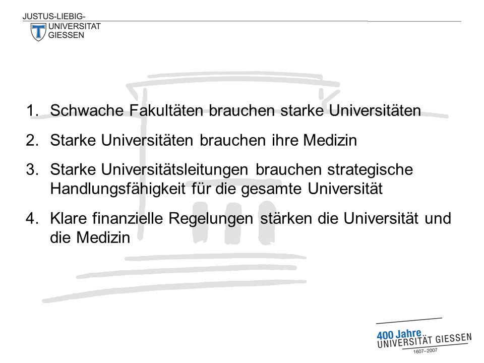 1.Schwache Fakultäten brauchen starke Universitäten 2.Starke Universitäten brauchen ihre Medizin 3.Starke Universitätsleitungen brauchen strategische