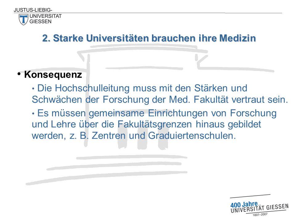 Konsequenz Die Hochschulleitung muss mit den Stärken und Schwächen der Forschung der Med.