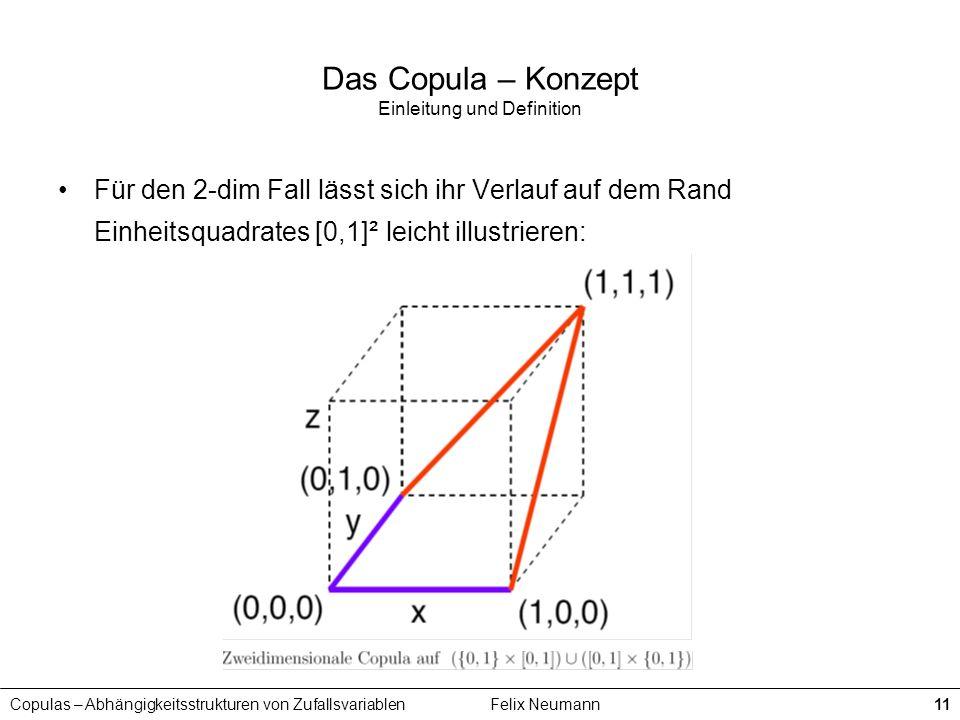 Copulas – Abhängigkeitsstrukturen von ZufallsvariablenFelix Neumann11 Das Copula – Konzept Einleitung und Definition Für den 2-dim Fall lässt sich ihr
