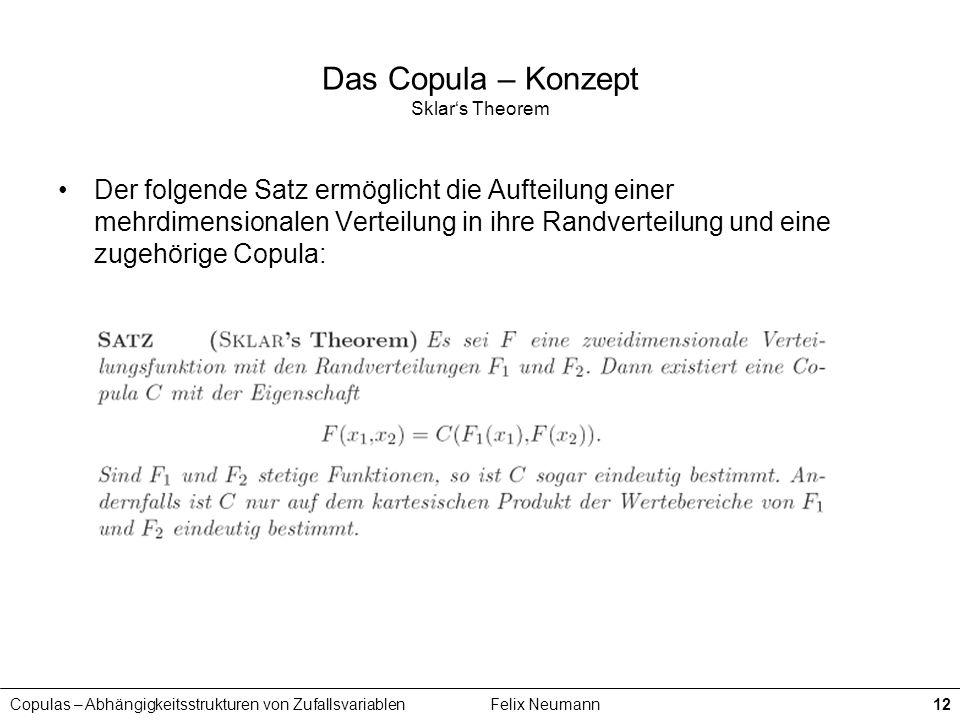 Copulas – Abhängigkeitsstrukturen von ZufallsvariablenFelix Neumann12 Das Copula – Konzept Sklars Theorem Der folgende Satz ermöglicht die Aufteilung