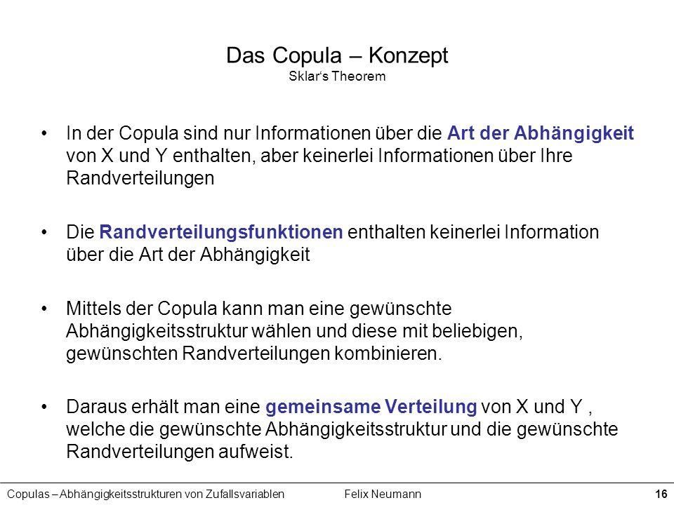 Copulas – Abhängigkeitsstrukturen von ZufallsvariablenFelix Neumann16 Das Copula – Konzept Sklars Theorem In der Copula sind nur Informationen über di