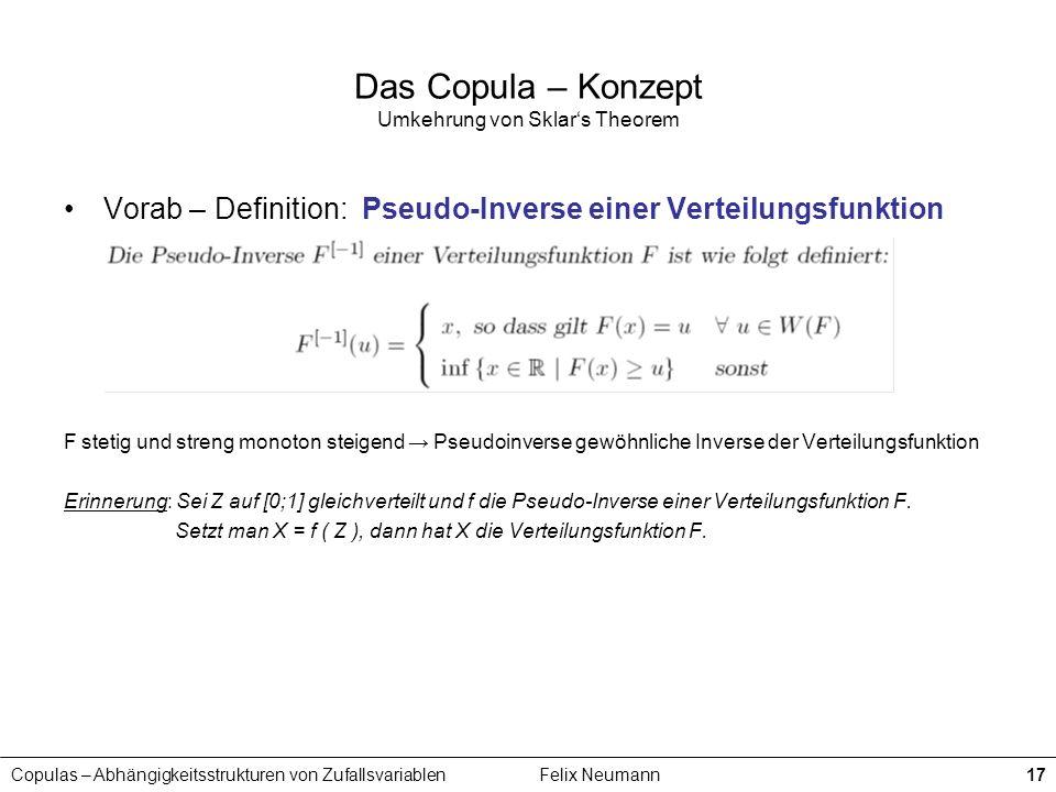 Copulas – Abhängigkeitsstrukturen von ZufallsvariablenFelix Neumann17 Das Copula – Konzept Umkehrung von Sklars Theorem Vorab – Definition: Pseudo-Inv