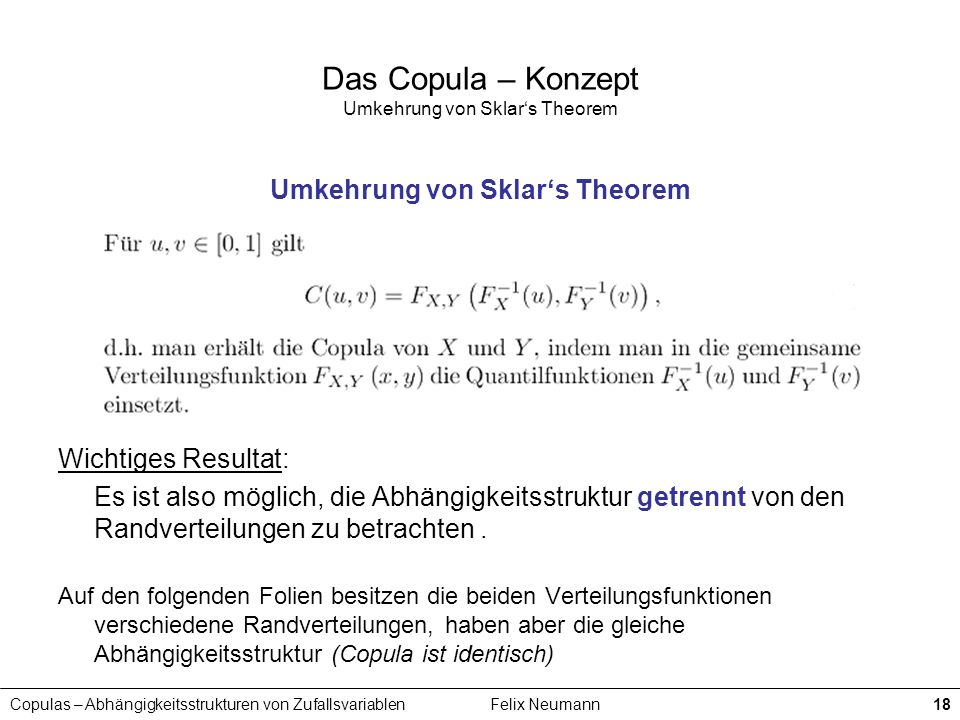 Copulas – Abhängigkeitsstrukturen von ZufallsvariablenFelix Neumann18 Das Copula – Konzept Umkehrung von Sklars Theorem Umkehrung von Sklars Theorem W