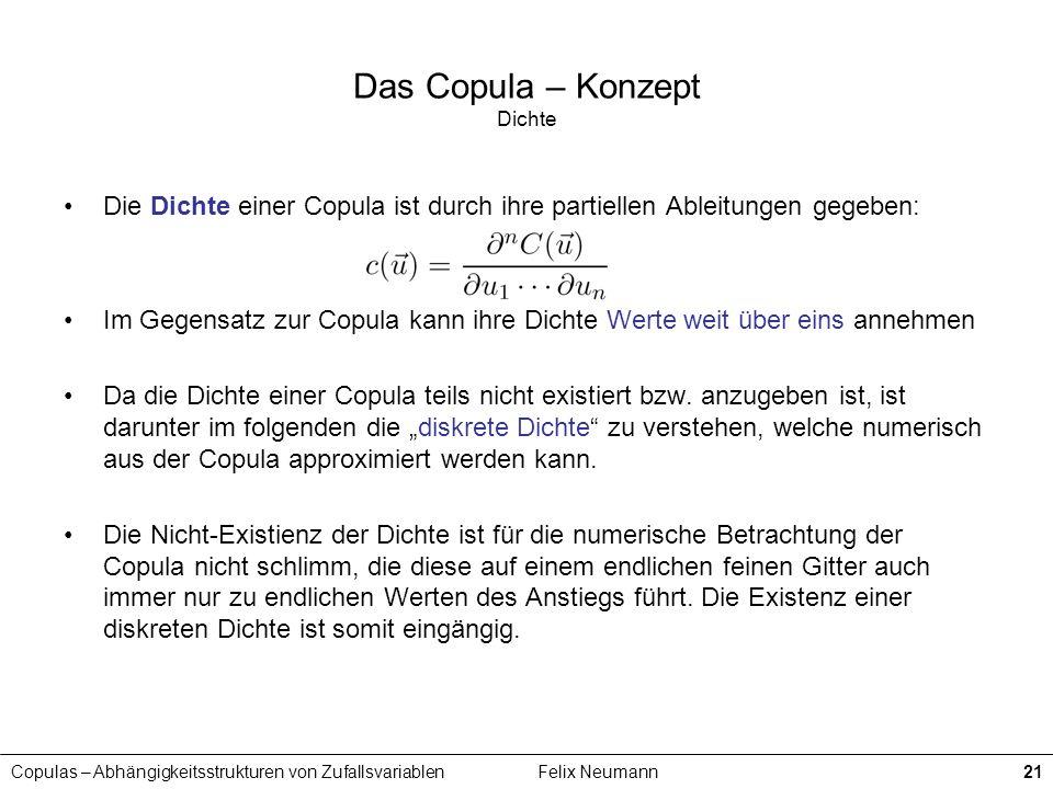 Copulas – Abhängigkeitsstrukturen von ZufallsvariablenFelix Neumann21 Das Copula – Konzept Dichte Die Dichte einer Copula ist durch ihre partiellen Ab