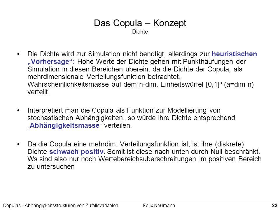 Copulas – Abhängigkeitsstrukturen von ZufallsvariablenFelix Neumann22 Das Copula – Konzept Dichte Die Dichte wird zur Simulation nicht benötigt, aller