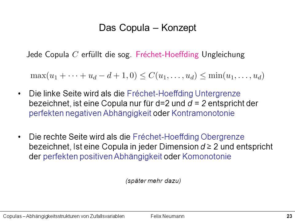 Copulas – Abhängigkeitsstrukturen von ZufallsvariablenFelix Neumann23 Das Copula – Konzept Die linke Seite wird als die Fréchet-Hoeffding Untergrenze