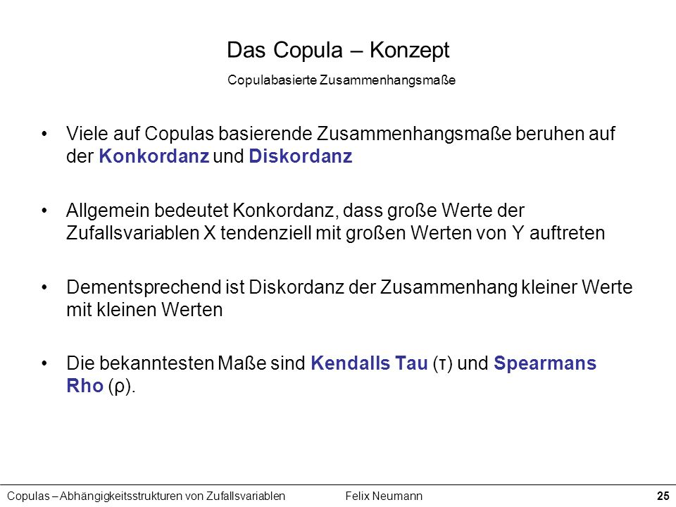Copulas – Abhängigkeitsstrukturen von ZufallsvariablenFelix Neumann25 Das Copula – Konzept Copulabasierte Zusammenhangsmaße Viele auf Copulas basieren
