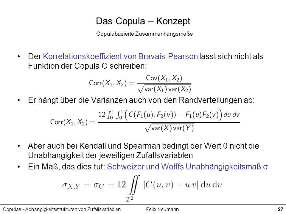 Copulas – Abhängigkeitsstrukturen von ZufallsvariablenFelix Neumann27 Das Copula – Konzept Copulabasierte Zusammenhangsmaße Der Korrelationskoeffizien