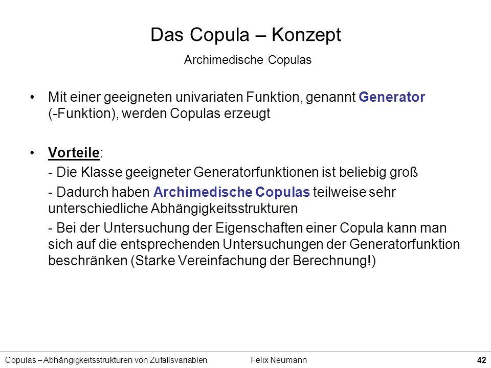 Copulas – Abhängigkeitsstrukturen von ZufallsvariablenFelix Neumann42 Das Copula – Konzept Archimedische Copulas Mit einer geeigneten univariaten Funk