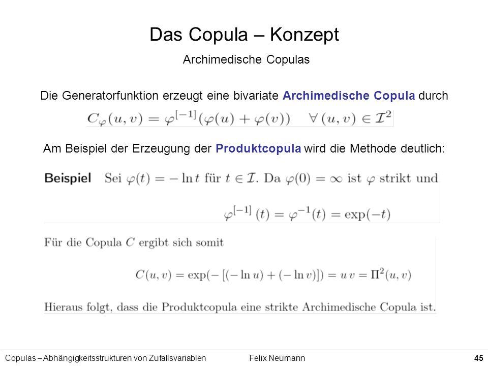 Copulas – Abhängigkeitsstrukturen von ZufallsvariablenFelix Neumann45 Das Copula – Konzept Archimedische Copulas Die Generatorfunktion erzeugt eine bi