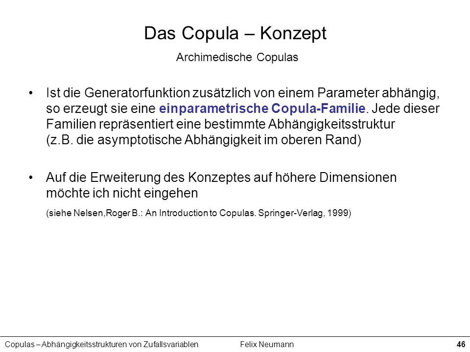 Copulas – Abhängigkeitsstrukturen von ZufallsvariablenFelix Neumann46 Das Copula – Konzept Archimedische Copulas Ist die Generatorfunktion zusätzlich