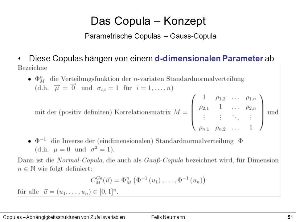 Copulas – Abhängigkeitsstrukturen von ZufallsvariablenFelix Neumann51 Das Copula – Konzept Parametrische Copulas – Gauss-Copula Diese Copulas hängen v