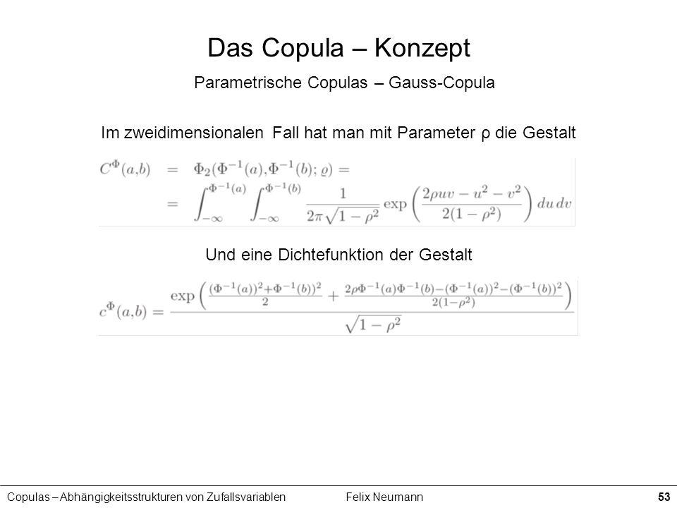 Copulas – Abhängigkeitsstrukturen von ZufallsvariablenFelix Neumann53 Das Copula – Konzept Parametrische Copulas – Gauss-Copula Im zweidimensionalen F