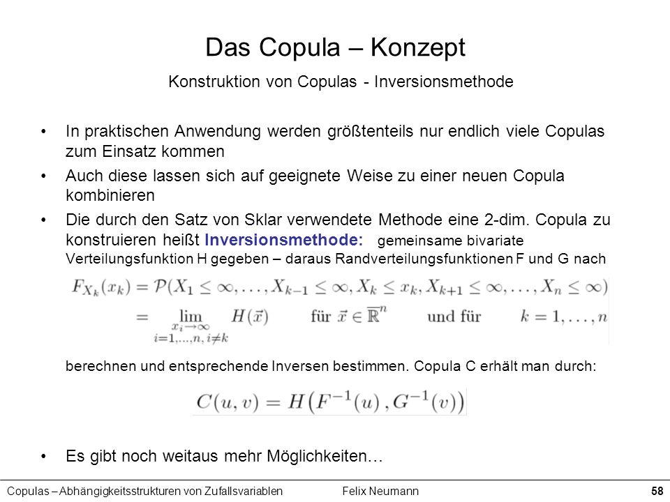Copulas – Abhängigkeitsstrukturen von ZufallsvariablenFelix Neumann58 Das Copula – Konzept Konstruktion von Copulas - Inversionsmethode In praktischen