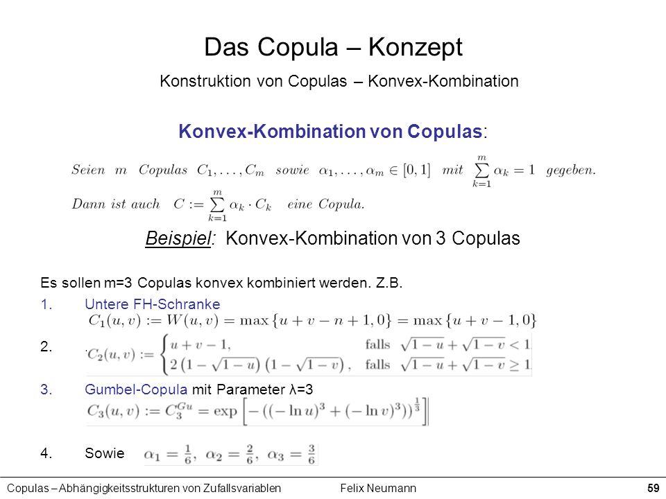 Copulas – Abhängigkeitsstrukturen von ZufallsvariablenFelix Neumann59 Das Copula – Konzept Konstruktion von Copulas – Konvex-Kombination Konvex-Kombin
