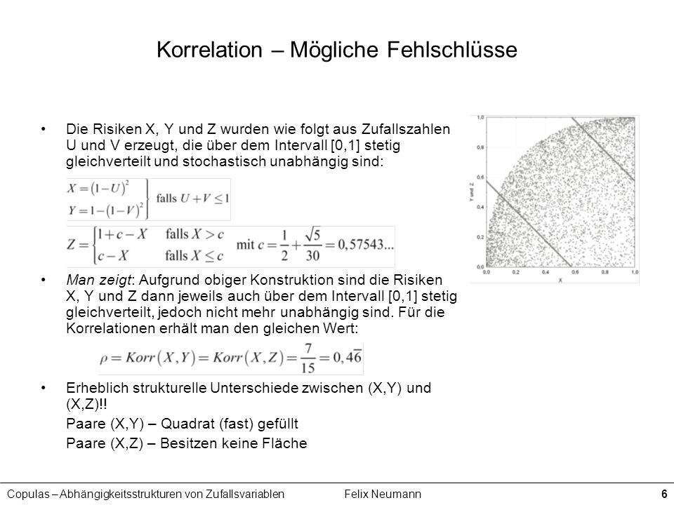 Copulas – Abhängigkeitsstrukturen von ZufallsvariablenFelix Neumann6 Korrelation – Mögliche Fehlschlüsse Die Risiken X, Y und Z wurden wie folgt aus Z