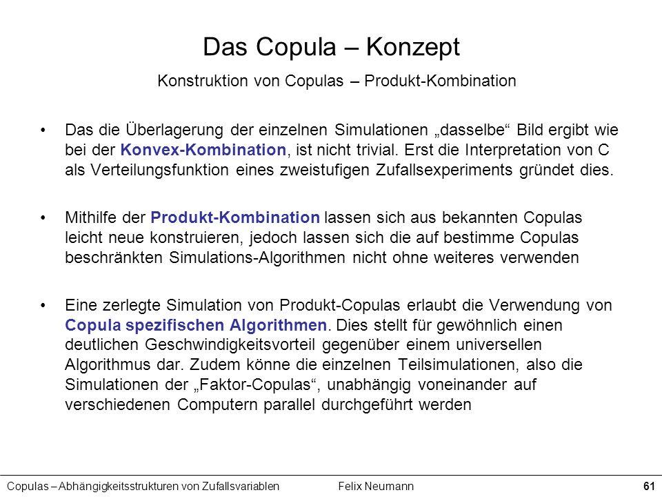 Copulas – Abhängigkeitsstrukturen von ZufallsvariablenFelix Neumann61 Das Copula – Konzept Konstruktion von Copulas – Produkt-Kombination Das die Über