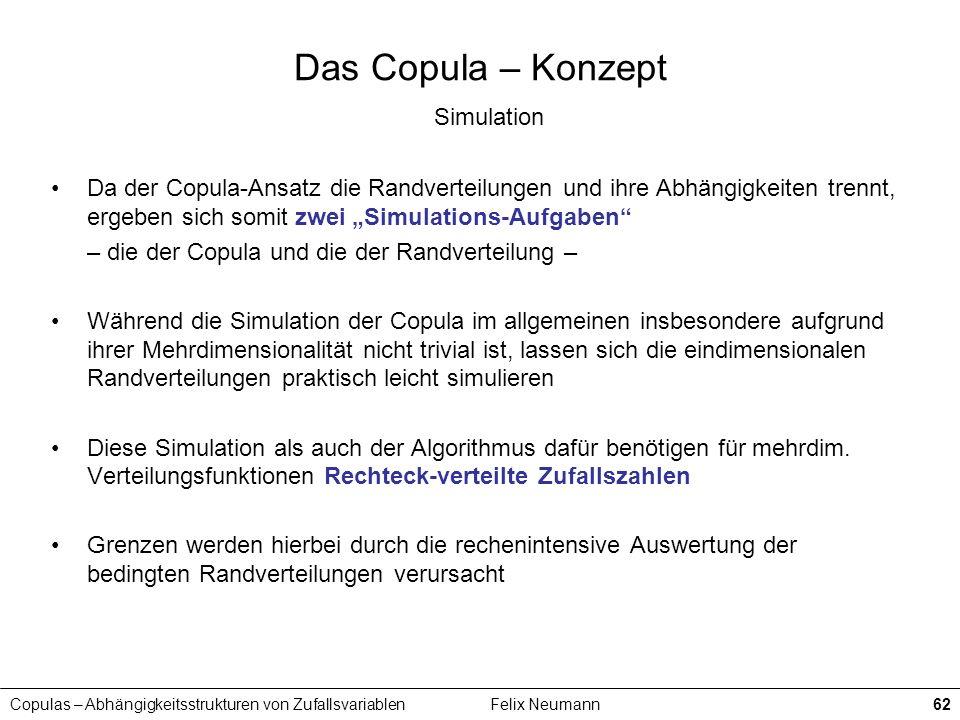 Copulas – Abhängigkeitsstrukturen von ZufallsvariablenFelix Neumann62 Das Copula – Konzept Simulation Da der Copula-Ansatz die Randverteilungen und ih